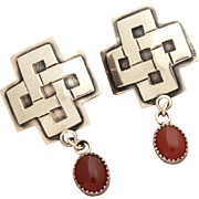 James Reid Sterling Earrings, Southwest Santa Fe Cross & Carnelian Cabochon Dangle Pierced, JR Ltd SF