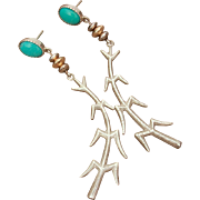 Andrew Redhorse Alvarez, Apache Artist Sterling 14k Gold Turquoise Corn Stalk Pierced Earrings in Box with Paperwork, Native American Jewelry