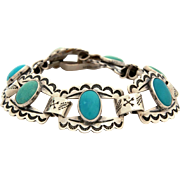 Native American Sterling Turquoise Link Bracelet with Hand Stamped Indian Crossed Arrows, Fred Harvey Era Tourist Jewelry