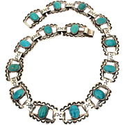 "Native American Sterling Turquoise Choker Necklace 14.25"", Double to Wear as Bracelet, Hand Stamped Indian Crossed Arrows, Fred Harvey Era Tourist Jewelry"