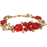 Coro Red Glass Fruit Salad Bracelet, Flower Centerpiece with Heart Shaped Petals