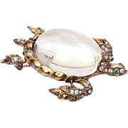 Trifari Sterling Jelly Belly Turtle Pin with Green Rhinestone Eyes, Silver Vermeil, Alfred Philippe