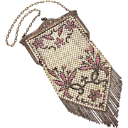 Mandalian Enamel Mesh Purse with Chain Fringe, Off White with Purple Floral Design Outlined in Black