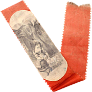 Antique Red Silk Ribbon Bookmark with Pencil Drawing of Shepherdess & Lamb, Book Marker