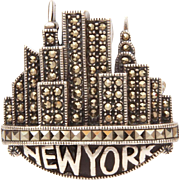 Judith Jack Sterling Marcasite New York City Skyline Skyscraper Pin