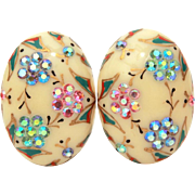 Cream Celluloid Earrings with Pink & Blue Aurora Borealis Rhinestones, Gold Painted Details