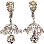 Napier Rhinestone Chandelier Dangle Earrings in Silver Tone