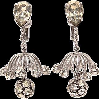 Napier Rhinestone Chandelier Dangle Earrings in Silver Tone