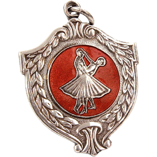 Pocket Watch Fob Ballroom Dancing Medal, English Silverplate with Red Enamel, Dancers