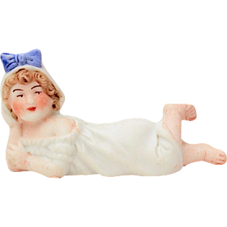 """Antique Bisque Piano Baby, Small 3.25"""" Figurine in Nightgown with Blue Hair Ribbon"""