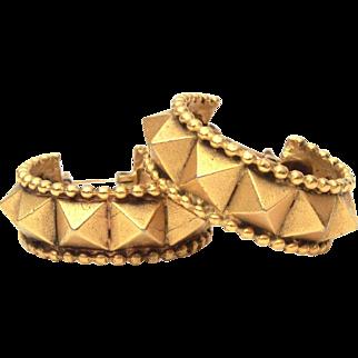 Yves Saint Laurent Pierced Hoop Earrings, French Designer YSL Matte Gold Tone