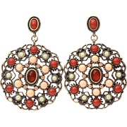 Gerard Yosca Pierced Dangle Earrings, Antiqued Gold Tone with Faux Angel Skin & Sardinian Coral, Peach Rhinestones, Pale Green Cabochons