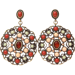 Gerard Yosca Pierced Dangle Earrings, Antiqued Gold Tone with Faux Angel Skin & Sardinian Coral, Peach Rhinestones, Pale Green Cabochons