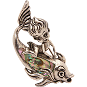 Signed Cyvra Sterling Fairy Riding Abalone Shell Fish Pin, 1950s Sea Pixie Brooch