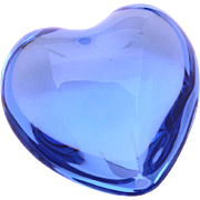Baccarat Blue Crystal Heart Paperweight, Paper Weight Desk Accessory