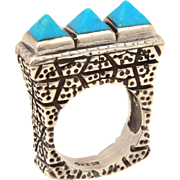 Dian Malouf Sterling Carved Turquoise Pyramid Ring Size 7 1/2, Signed DLM 925