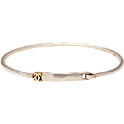 Authentic Cartier Sterling & 18K Gold Bangle Bracelet Double C Logo