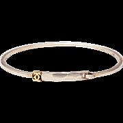 Authentic Cartier Sterling & 18K Gold Bangle Bracelet Double C Logo