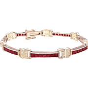 Stunning Art Deco Revival Sterling Channel Set Verneuil Ruby Bracelet