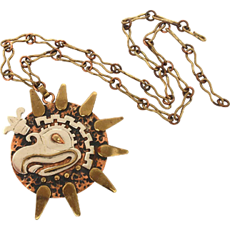 Mexican Mixed Metal Necklace with Large Mexico Eagle on Starburst Pendant, Copper Brass, Hand Made Jewelry Silver Tone