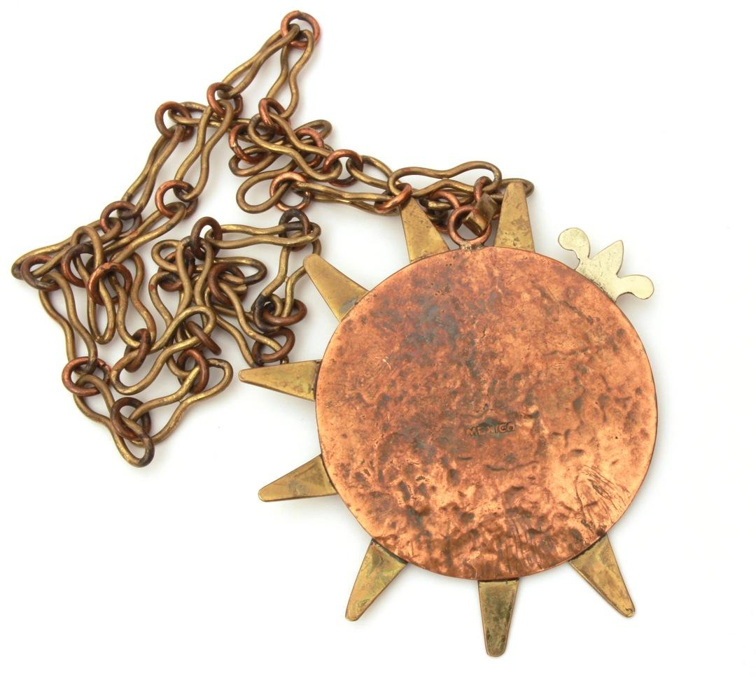 mexican mixed metal necklace with large mexico eagle on starburst