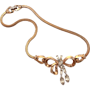 "1940s Mazer Rhinestone Dangle Bow Necklace with Snake Chain, Unsigned Joseph Mazer 14 3/4"" Long"