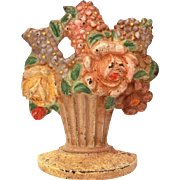 Hubley Doorstop #479 Cast Iron Vase of Flowers Roses Lilacs Hyacinth, Original Paint, Smaller Size
