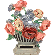 Hubley Doorstop Poppies & Cornflowers #265 Cast Iron Striped Vase of Poppy Flowers, Original Paint