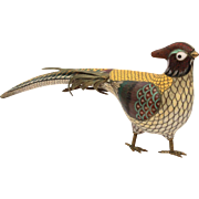 "Chinese Cloisonne Pheasant Sculpture, Enamel & Gilt Metal, Large 11"" Long"