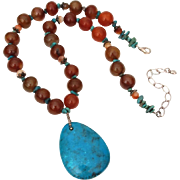 Turquoise & Carnelian Bead Necklace, Sterling Chain & Ethnic Accents, Tear Drop Stone Pendant in Southwest Style