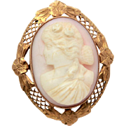 Antique 10k Gold Shell Cameo Pin Pendant, Lacy Engraved Mount