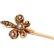 Antique 14k Gold & Gray Seed Pearls French Fleur de Lis Stickpin, Cravat Stick Pin