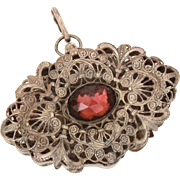 Czech Filigree Locket with Amethyst Glass Stone, Large & Thick Pendant