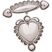 Sterling Dangle Heart Pin Southwest, Puffy Heart Style Brooch