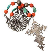 Ethnic INRI Cross Necklace with Coral and Turquoise Beads, Tribal Pendant