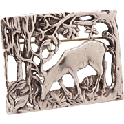Sterling Buck in Woods Pin, Landscape Brooch of Deer Grazing Feeding in Forest