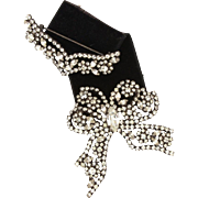 Medal Style Rhinestone Bow on Velvet Ribbon Pin, Japanned Metal Mount with Colorless Glass Prong Set Gems Award Brooch