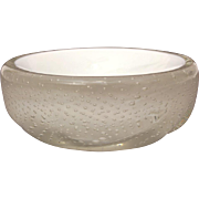 "Small Murano Bullicante Glass Dish in Clear over White, 3.5"" Wide"