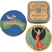 3 Typewriter Ribbon Tins, Underwood Silver Brand, Panama, Old Town Pure Silk, Vintage Advertising Office Supply