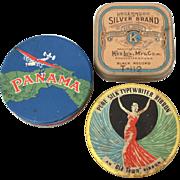 3 Typewriter Ribbon Tins, Underwood Silver Brand, Panama, Old Town Pure Silk, Vintage Advertising Office Supply