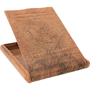 Yugoslavia Cigarette Case, Folk Art Chip Carved Wood with Hinged Lid, Slavic Smoking Accessory