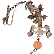 Antique Chinese Articulated Koi Fish Waist Belt Hook on Chain with Peach Fruit Bells & Stone Bead Dangle