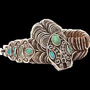 Signed MATL Sterling Turquoise Snake Bracelet, Mexican Silver Rattlesnake