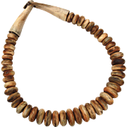 Natural Wood Bead Necklace, Graduated Carved Wooden Beaded 20""