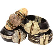 Ethnic Tribal Hinged Bangle Bracelets in Carved Ox Bone, Horn & Wood with White and Yellow Brass Details