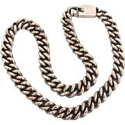 """Heavy Sterling Curb Link Chain Necklace Unisex, Massive 170.4 grams Silver, 18.5"""" x .5"""""""