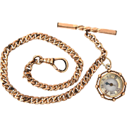 Antique Gold Filled Pocket Watch Chain with Working Compass Fob