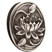 Art Nouveau Sterling Water Lily Flower or Lotus Blossom Tie Clip Pin