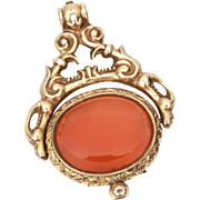 Victorian Spinner Pocket Watch Fob with Engine Turned Locket & Carnelian