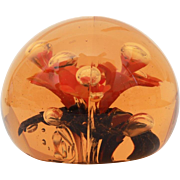 Large Heavy Glass Paperweight Signed SGC, Mid Century Colors Amber Glass with Orange Flowers & Encased Bubbles